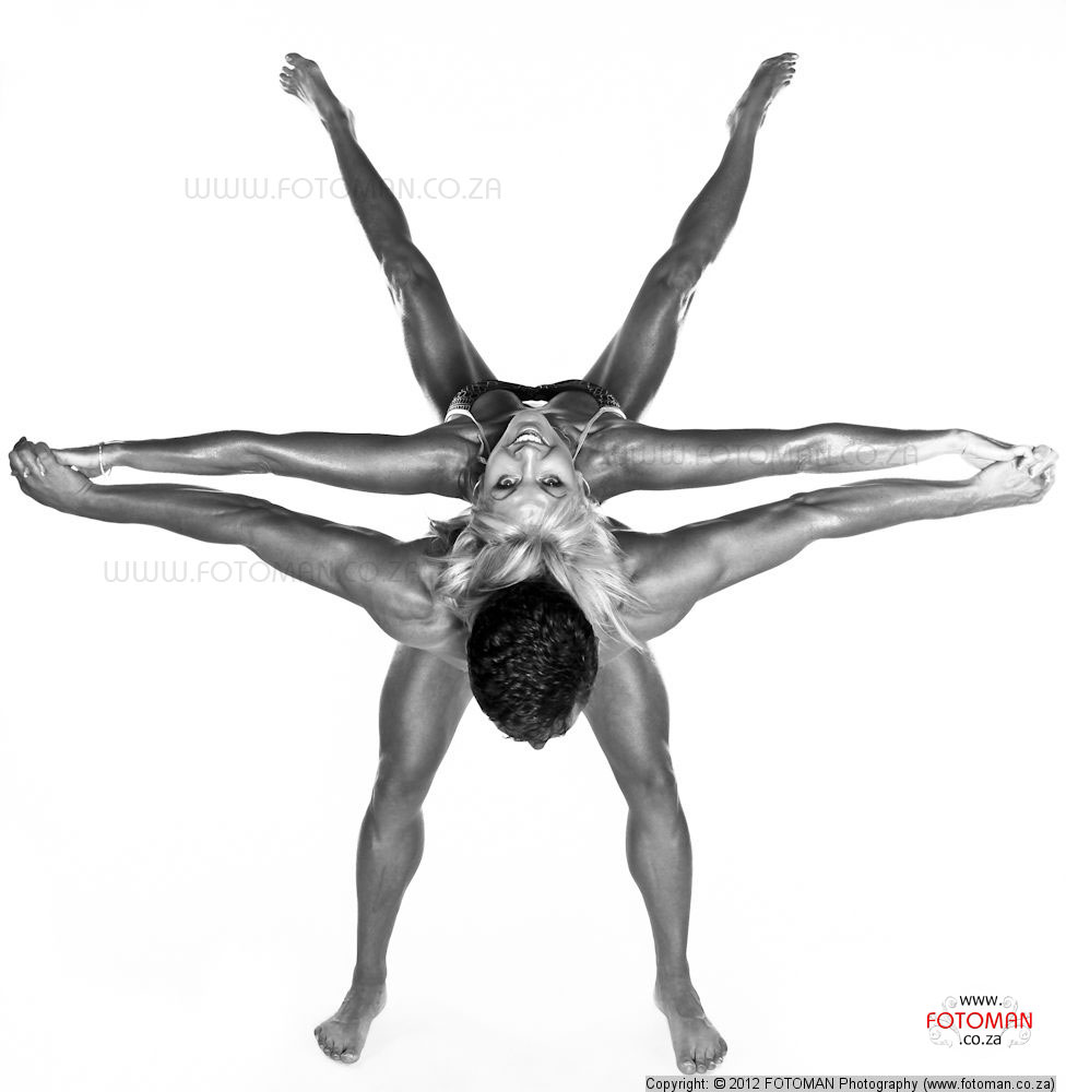 Award winning studio fitness photograph of couple in star position, Fitness photographers, Nude couples studio photography, sexy couple, black and white body building photographs, toned bodies, gym trained, training, James L Dekker FOTOMAN Photography, West Rand, Gauteng, Tshwane, Roodepoort